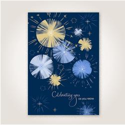 Hallmark retirement card with fireworks